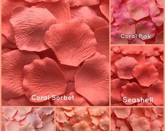 Coral Rose Petals - 500 Silk  Rose Petals