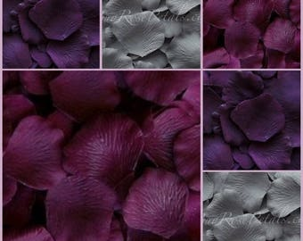 Plum Grey Rose Petals -3,000 Silk Rose Petals
