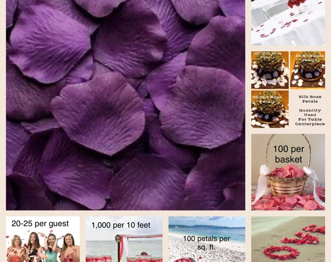 500 Amethyst Rose Petals - Silk Rose Petals for Weddings