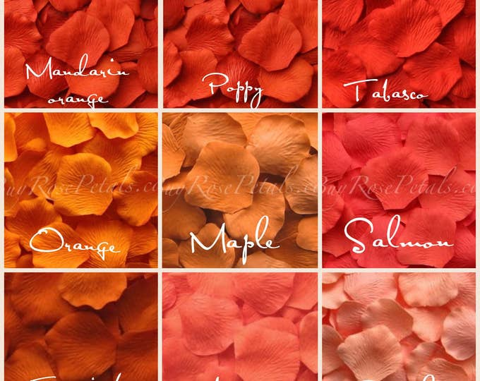 Shades of Orange Rose Petals - Silk Rose Petals
