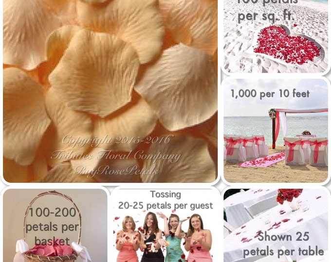 500 Peach Rose Petals - Silk Petals for Weddings, Rose Petal Runners, Flowergirls