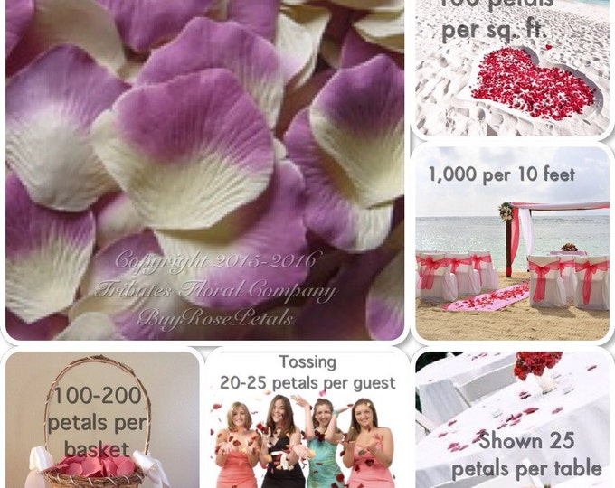 500 Lilac Ivory Rose Petals- Artificial Rose Petals for Weddings, Flower Girls & Petal Toss