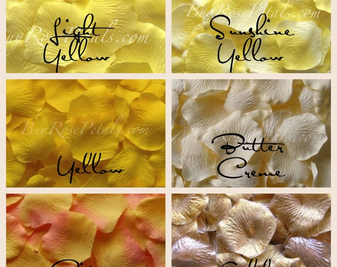 500 Yellow Silk Rose Petals -Shades of Yellow Rose Petals for Weddings
