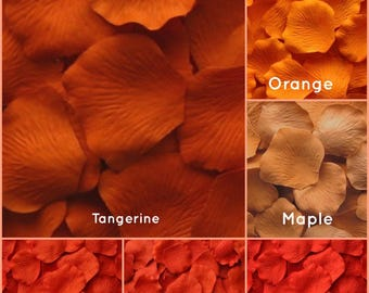 Orange Silk Rose Petals - 1,500 Rose Petals