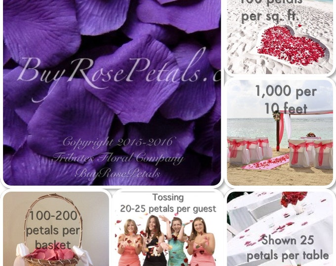 500 Purple Silk Rose Petals - Artificial Rose Petals for Weddings
