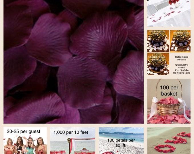 500 Eggplant Rose Petals - Artificial Rose Petals for Weddings, Flower Girls & Petal Toss