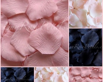 500 Silk Rose Petals - Blush Navy Blue Rose Petal Blend