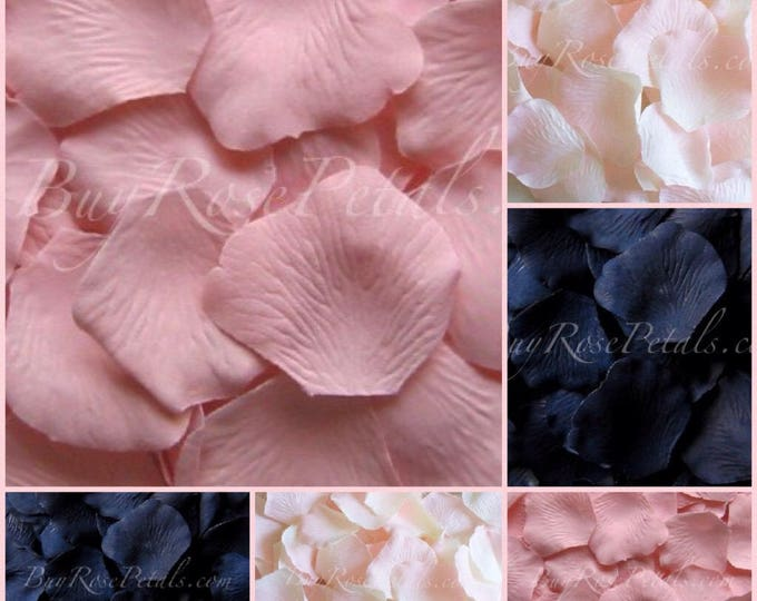 Blush Navy Blue Rose Petals - 3,000 Silk Rose Petals