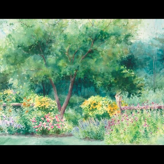 Peinture Jardin Décor Vert Art Mur De Jardin Peinture De Fleurs Peinture à L Aquarelle