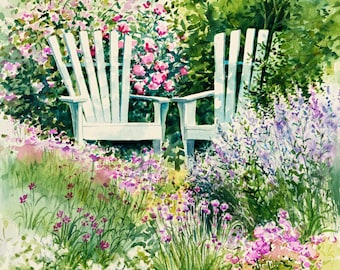 """watercolor painting """"Garden Chairs"""" giclee print 16 x16 printed on canvas, Garden painting, flower art."""