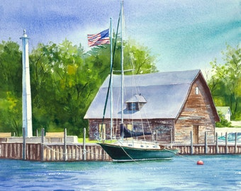 "Sailboat watercolor print ""Anderson Dock"" Door County, Wisconsin, giclee from original watercolor"