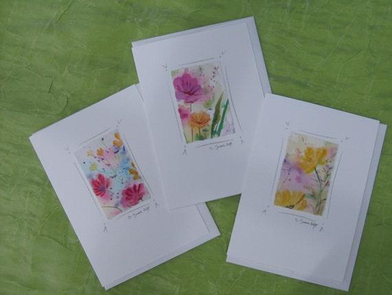 original watercolors set of 3. Handmade cards flower paintings mounted on notecards