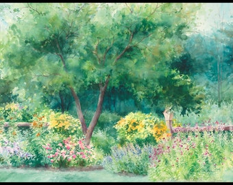 "watercolor painting ""Roadside Garden"" giclee print 9 1/2 x 13 1/2 in."