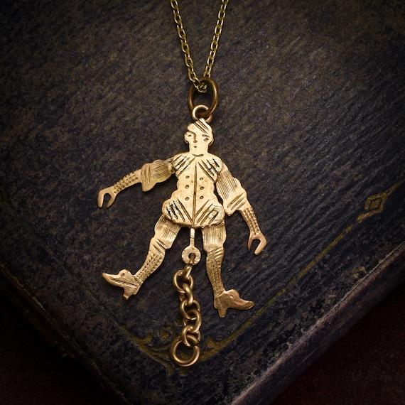 Antique Victorian Gold Jester Novelty Pendant, Cir