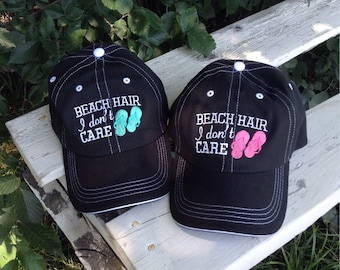 Beach Hair Don t Care Hat~Monogram Baseball Hat~ Preppy Monogram Hat~Sun Hat  ~ Beach Hat a2880d3efa0