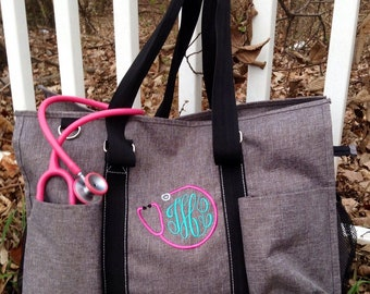 80472babae Monogram Utility Tote ~ Nurse bag ~Teacher Tote ~ Home Health Bag ~ car  organizer