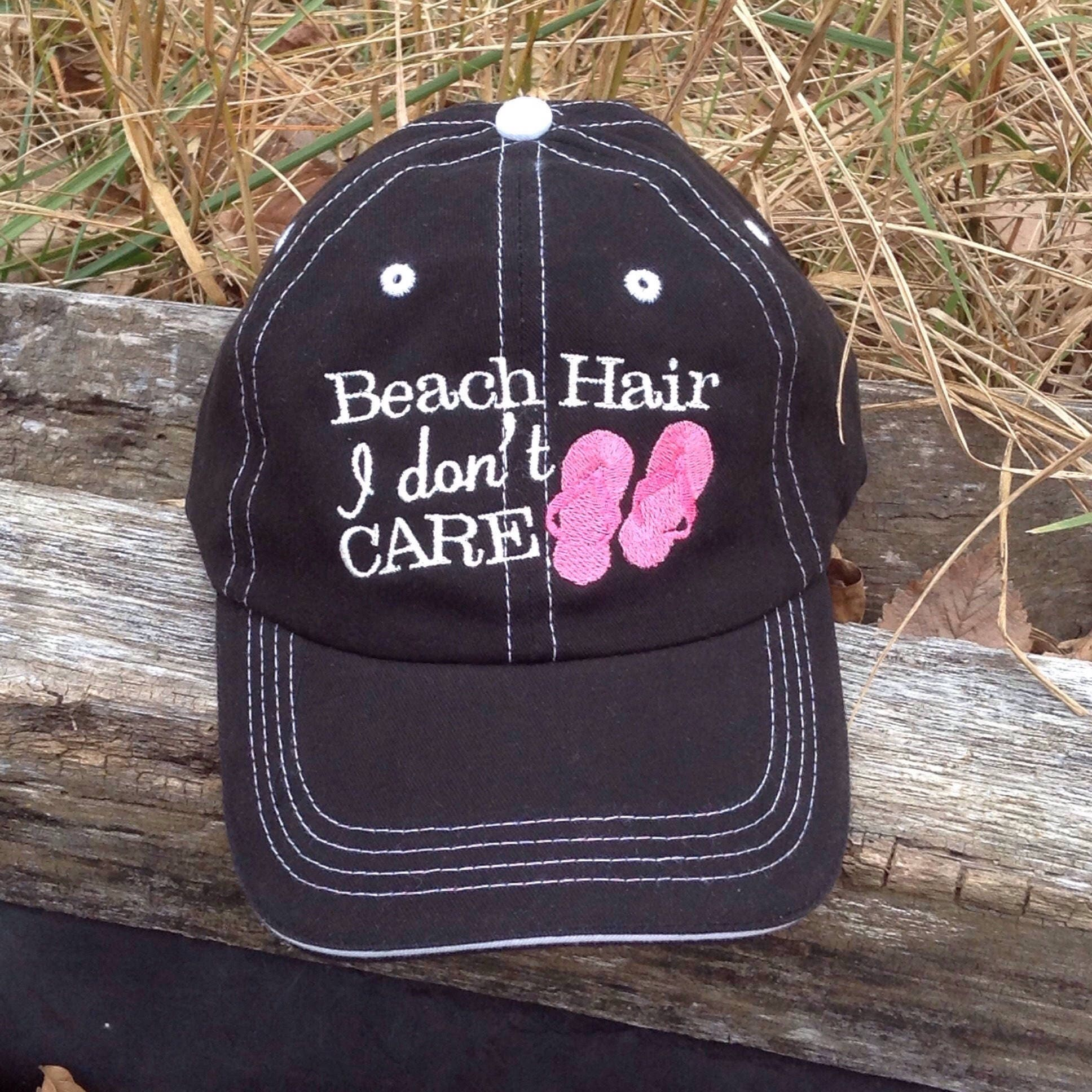 Beach Hair I Don t Care HatMonogram Baseball Hat Preppy  3b76a375968