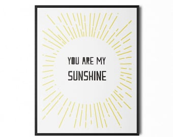 You Are My Sunshine Wall Art · Printable Home Decor · 8 x 10 Digital Art · Instant Download · Wall Art · Yellow · MonoChrome · Tumblr