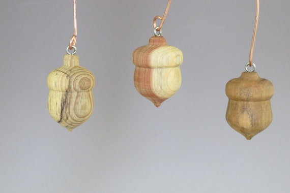 Wooden Acorn Ornaments Turned Wood Ornaments Upcycled Etsy