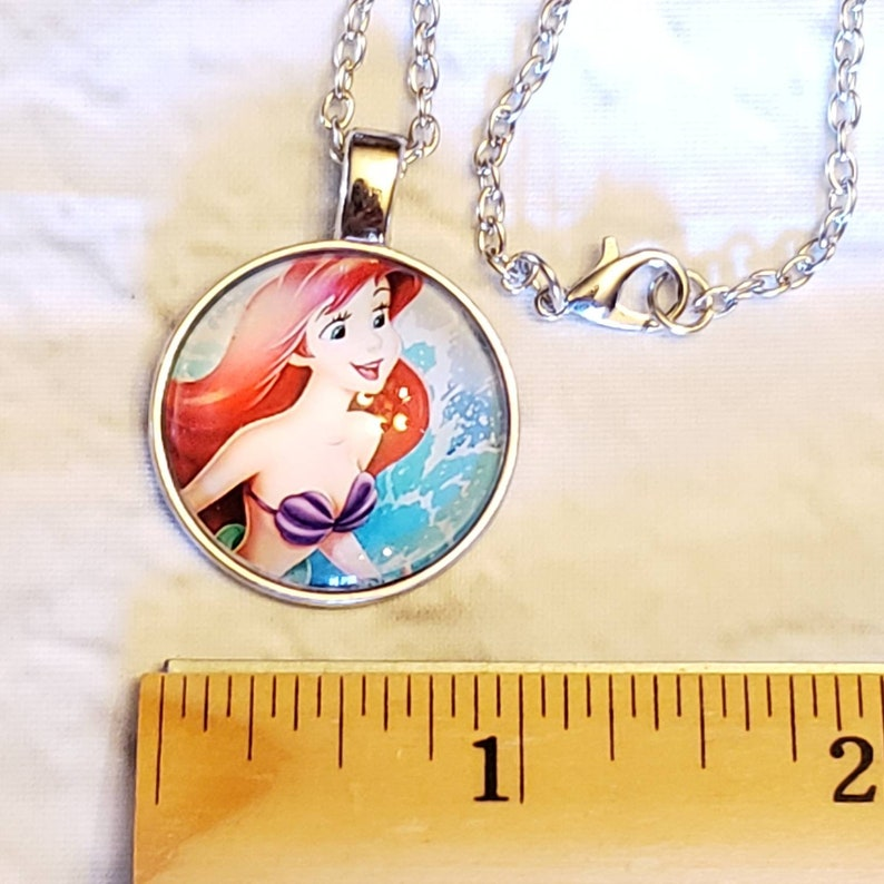 Disney/'s Ariel Necklace Glass Tile Little Mermaid Free Shipping