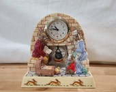 Royal Doulton Bunnykins Clock, Family Time DBGW12 , from the Bunnykins Giftware Series
