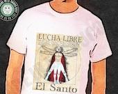 Lucha Libre - El Santo T-shirt Vitruvian Man Comics Superhero Tee