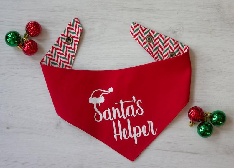 Santa's Helper Santa Christmas Reversible Dog Bandana image 0