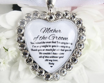 Mother Of The Groom Thankyou Gift Bouquet Charm with Sparkling Diamantés Gift