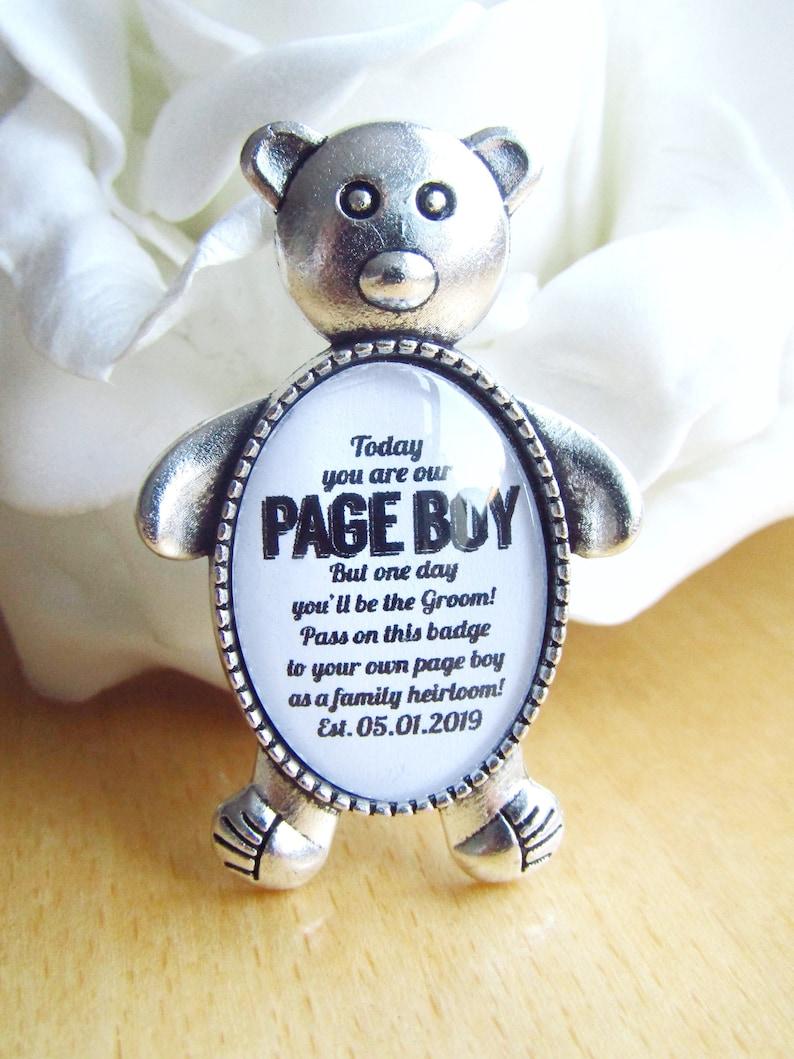 Page Boy Teddy Bear Badge Gift Something Old Wedding Personalised Date Badge