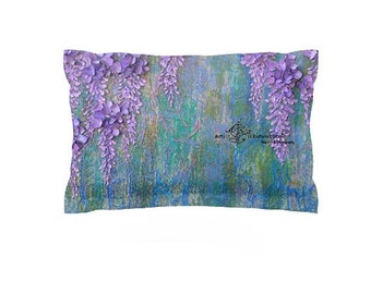Spring Garden Pillow Sham Purple Wisteria Flower Cover Custom Bedding Teal Blue Shower Curtain Bath Mat Duvet Guest Room Mermaid