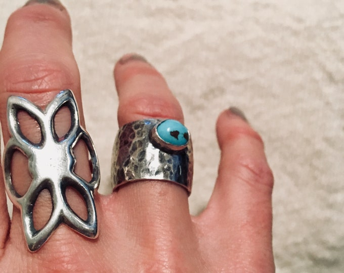 Textured Heavy Gage Sterling Silver & Turquoise Ring