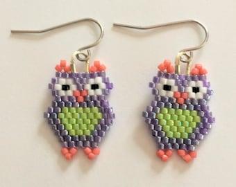Glass Beaded Owl Earrings (Free shipping)