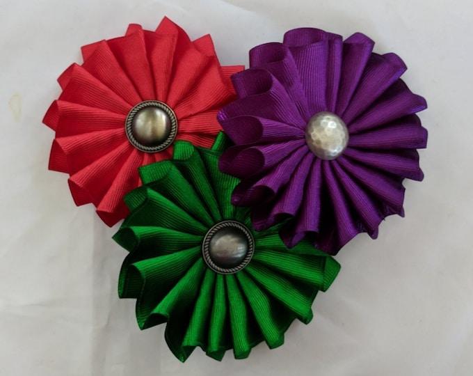 Heraldic Cockade - SCA Heraldry - Metal and Color Rosette - Multiple Colors
