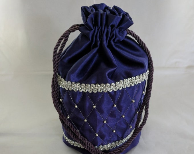 Purple Satin Quilted & Beaded Drawstring Purse - Renaissance