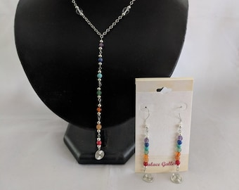 7 Chakra Sacred Spiral Earrings and Necklace Set