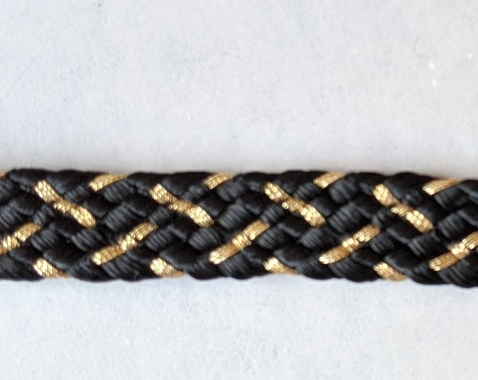Black and Gold Braided Trim -  Home Decor - Crafts - Ren Faire Clothing
