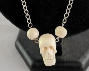 White Bone Skull Necklace - Halloween - Memento Mori - Remember Death