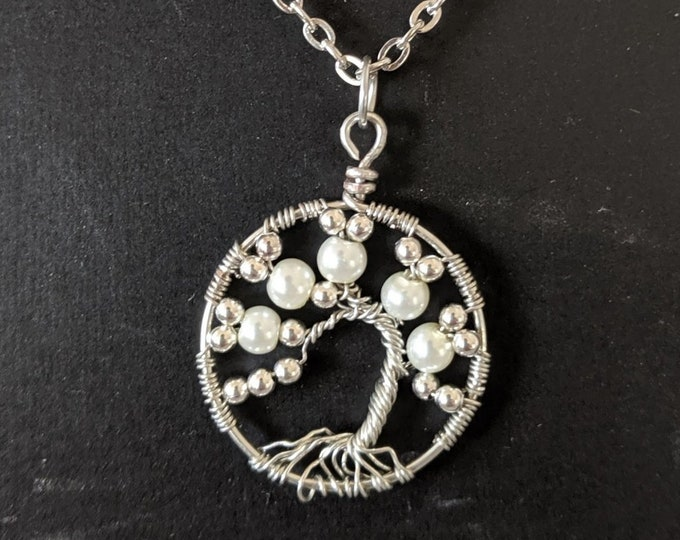 Pearl Birthday Tree of Life Chain Necklace - June Gemini - July Cancer