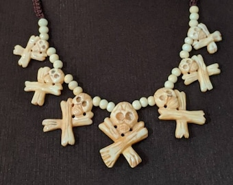 Skull & Crossbones Bone Necklace - Aztec Mayan Native American
