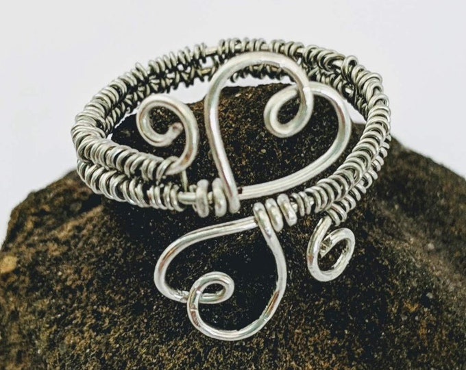 Two Hearts in Love Wire Woven Adjustable Ring