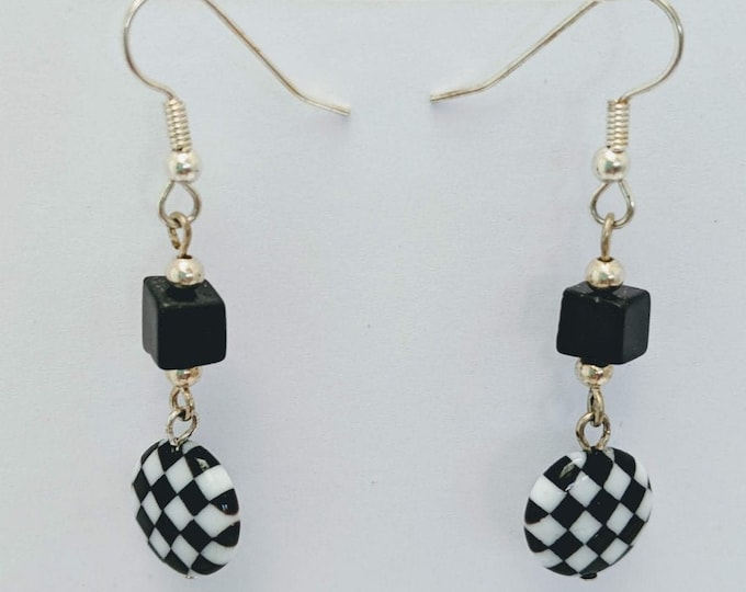 SCA Checky - Black & White Checkerboard  Glasswork Bead Earrings
