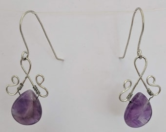 Amethyst Dangle Earrings - Wire Wrapped Pendant - February Birthstone