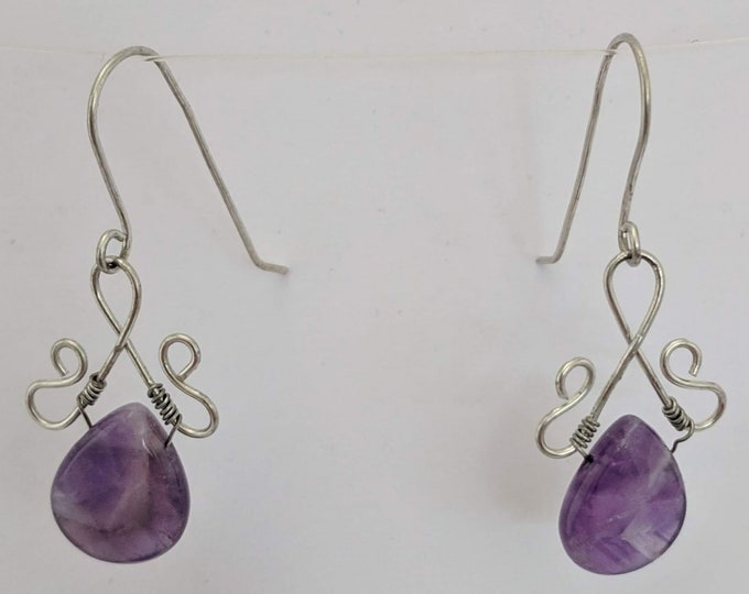 Amethyst Dangle Earrings - Wire Wrapped Pendant - February Birthstone