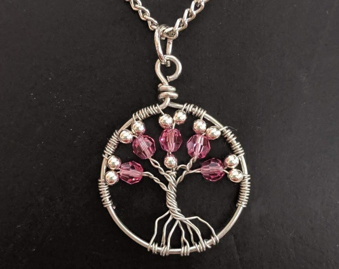 Libra Pink Crystal Tree of Life Chain Necklace - October Birthday