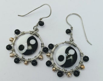 Chinese Yin Yang Lampwork Bead - Obsidian Earrings - Taoism Taijitu