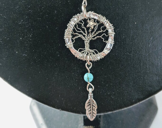 North Star Tree of Life Pendant - Feather and Turquoise Dangle