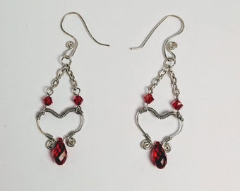 Garnet Siam Swarovski Crystals - Wire Wrapped Open Heart Earrings
