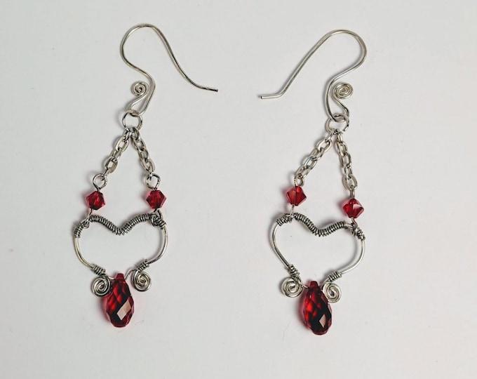 Garnet Siam Swarovski Crystals - Wire Wrapped Open Heart Earrings