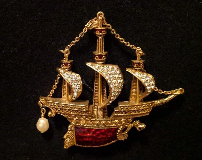 Pearl - Enameled Ship Brooch - Renaissance Victorian Elizabethan