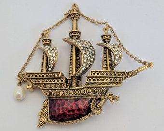 Red Enameled Ship Brooch - Elizabethan Renaissance Victorian